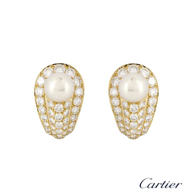 Cartier 18k Yellow Gold Pearl and Diamond Earrings 4.50ct